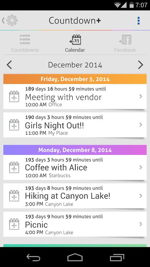 Countdown+ Widget Calendar - screenshot