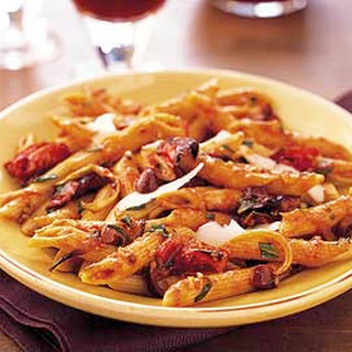 Penne with Roasted-Tomato Sauce, Orange, and Olives.