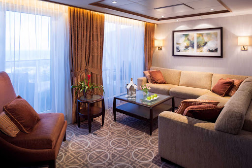 Celebrity_Silhouette_CelebSuiteLiving-1 - Make yourself at home in your private living room on board Celebrity Silhouette.