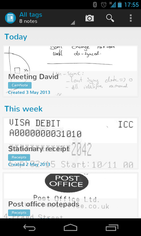 CamNote - scannable notes - screenshot