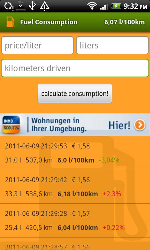 fuel economy (mileage)- screenshot