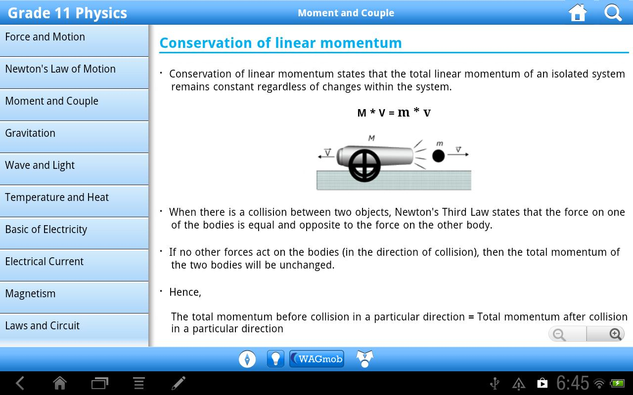 Grade 11 Physics by WAGmob - screenshot