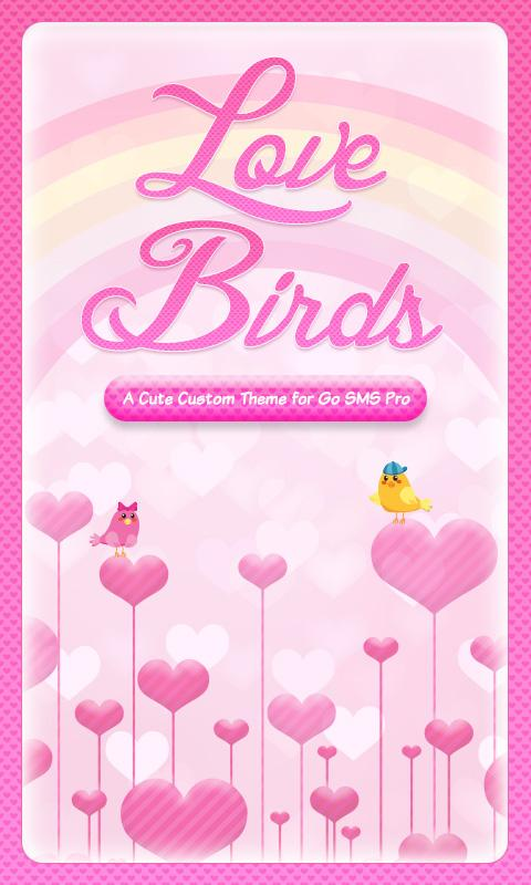 ♥ Cute Love Birds SMS Theme ♥ - screenshot