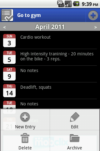 Activity Log- screenshot