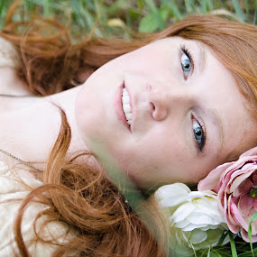 Flower Girl by Darci Jones - People Portraits of Women ( teen, gorgeous, beautiful, redhead, flowers )