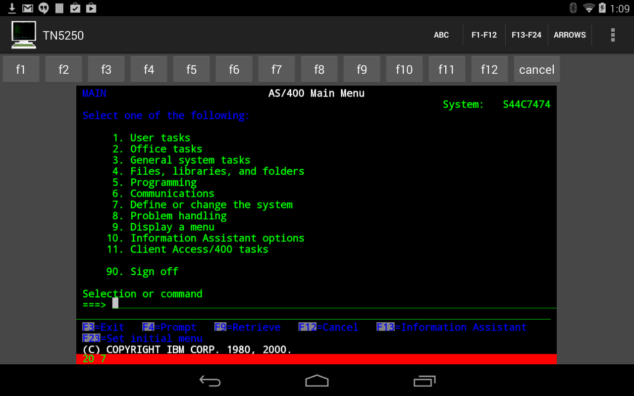 Mocha TN5250 LITE- screenshot