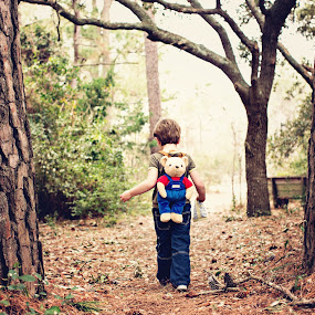Walk into the Woods by Michelle Petty - Babies & Children Children Candids ( #intotheunknown, #roadlesstraveled, #bearbackpack, #walkinthewoods, #adventure )