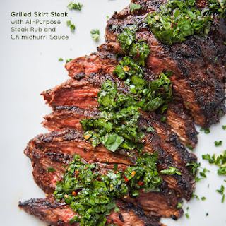 Skirt Steak Recipe with All Purpose Steak Rub and Chimichurri Sauce.
