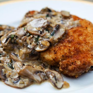 Porkchops with Mushroom Bourbon Cream Sauce.