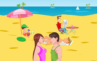 Screenshot of Kissing Game-Beach Couple Fun