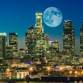 Super Moon Over Los Angeles by Jay R Vismanos - Landscapes Travel ( building, night lights, blue hour, love it, nice, landscape, nightscape, bluehour, lights, wow, dtla, sky, downtown los angeles, super moon, buildings, los angeles, long exposure, night )