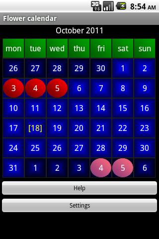 Flower calendar (free)- screenshot