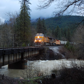 Waters Rising by Sherry Gardner - Transportation Trains ( train, castella, castle creek, castle crags )