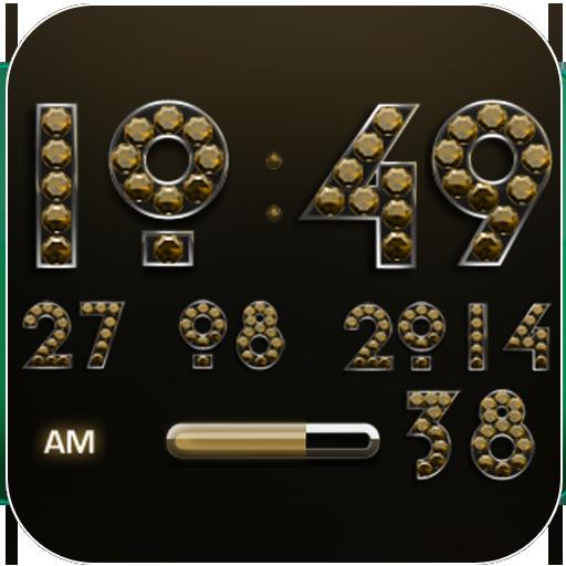 Digi Clock Widget Gold Diamond