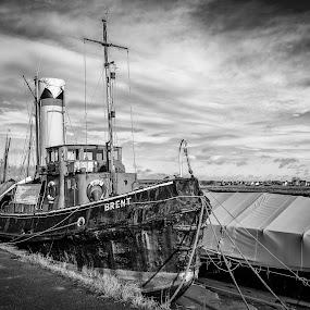 Old steam tug by Dave Angood - Transportation Boats ( sky, cloud, boat, coastal, steam, tug,  )