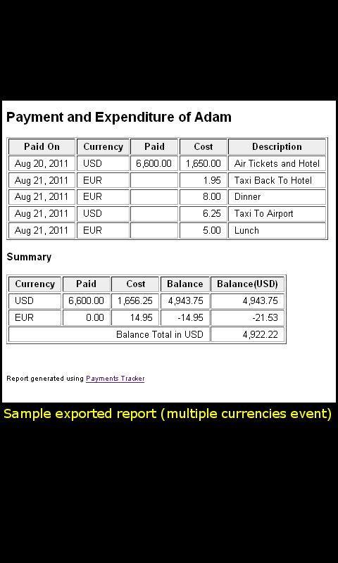 Payments Tracker- screenshot