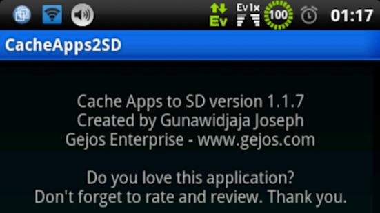 Cache Apps to SD root