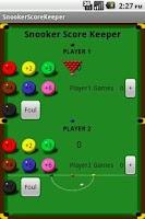 Screenshot of Snooker Score Keeper