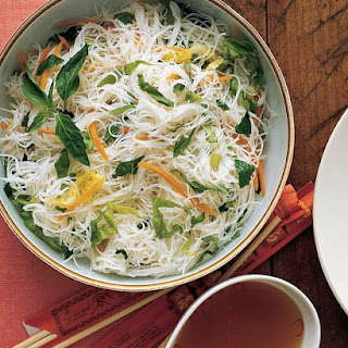 Rice Noodles with Scallions and Herbs.