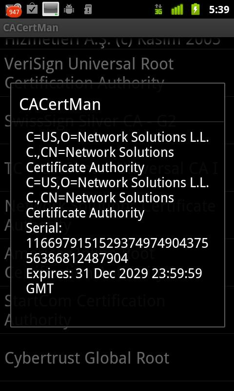 CACertMan- screenshot