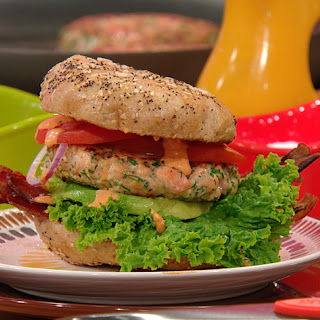 BLAST Burgers (Bacon, Lettuce, Avocado, Salmon and Tomato Burgers with Sriracha Aioli)