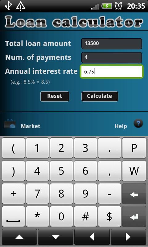 Loan calculator- screenshot