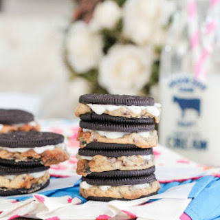 Warm Baked Chocolate Chip Cookie Stuffed Oreos.