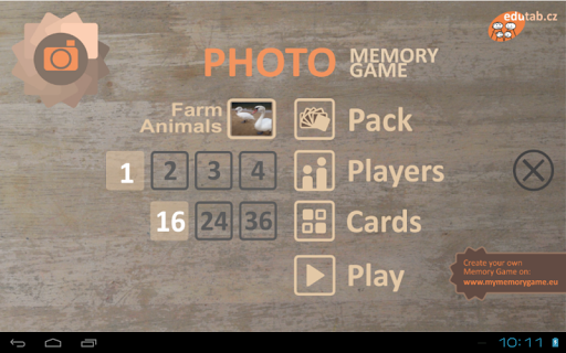 Photo memory game for kids