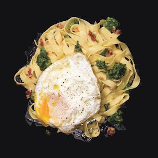 Fettucine Carbonara with Fried Eggs