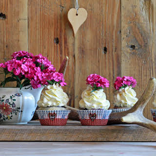 Blueberry Cupcakes with Dried Herbs and Flowers.
