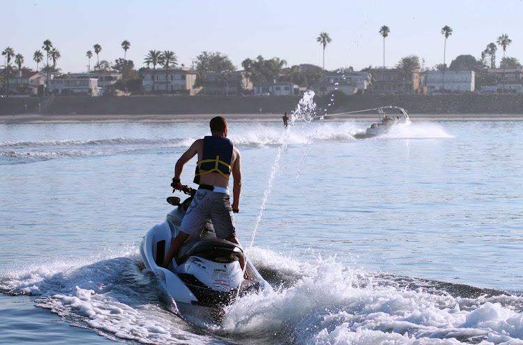 Jet skiers in Mission Bay, San Diego.