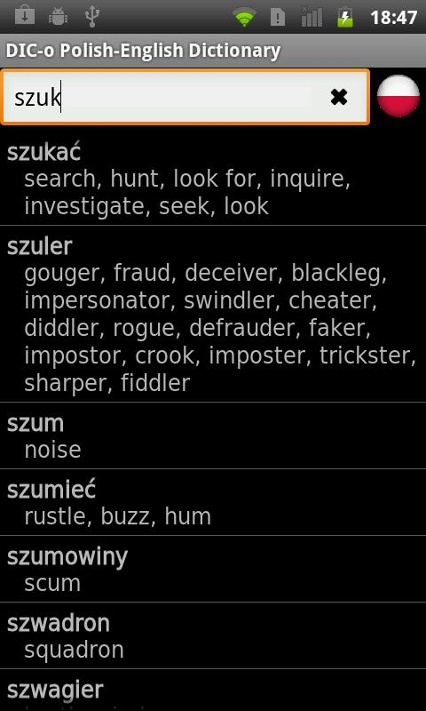 Polish - English offline dict.- screenshot
