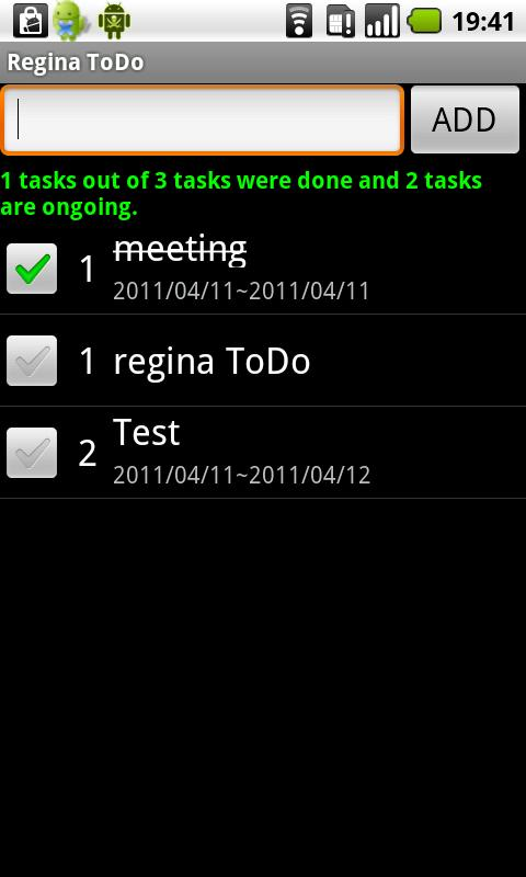 Regina to-do list - screenshot