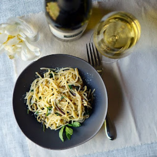 Spaghetti Pan-Fried with Ramps & Mint