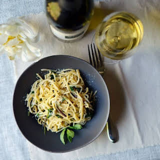 Spaghetti Pan-Fried with Ramps & Mint.