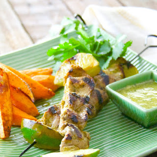 Mojo Pork Skewers and Pepper Jelly-Glazed Sweet Potatoes