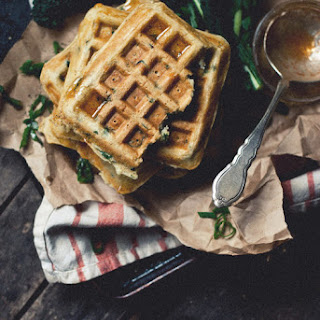 Kale and Romano Ricotta Waffles with Cayenne Honey