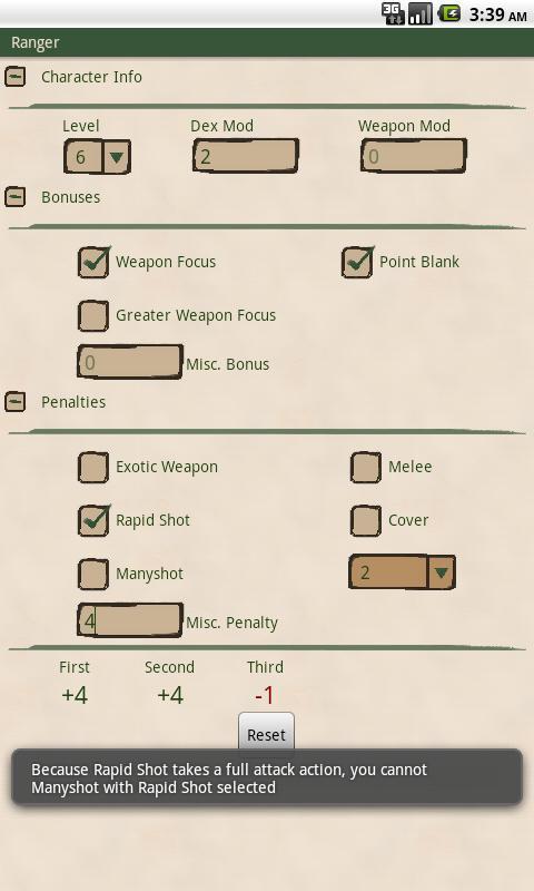 Ranger Attack Calculator- screenshot
