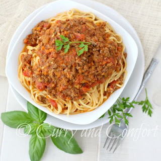 Beef and Mushroom Bolognese over Spaghetti Pasta.
