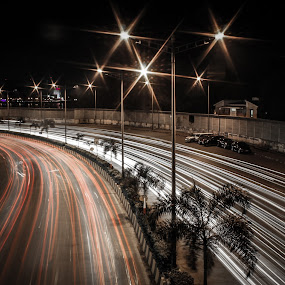 Light trails !! by Mangesh Jadhav - City,  Street & Park  Night ( night, trails, light )
