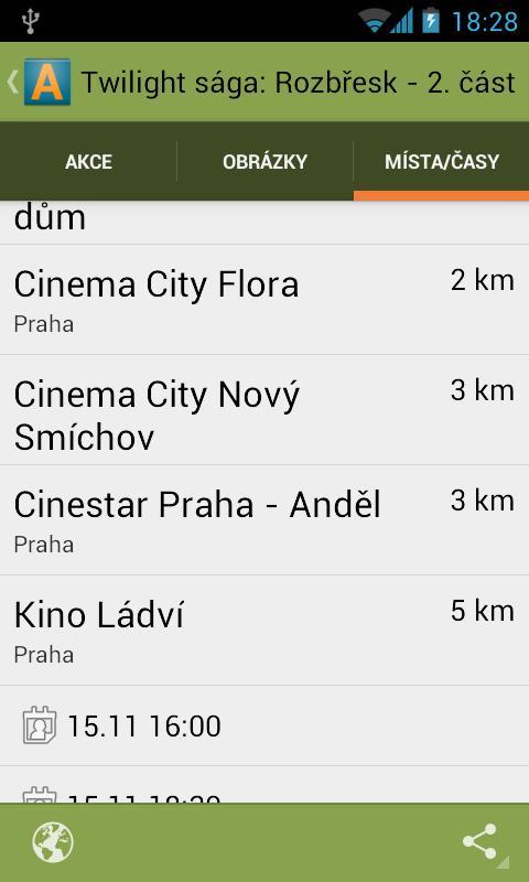 Akce v okolí - screenshot