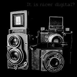 It is nicer digital? by Charles KAVYS - Typography Captioned Photos ( pionyr, flexaret, exakta, carl zeiss, digital,  )