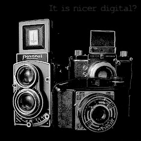 It is nicer digital? by Charles KAVYS - Typography Captioned Photos ( pionyr, flexaret, exakta, carl zeiss, digital,  )