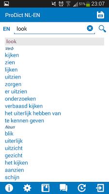 Dutch - English dictionary - screenshot