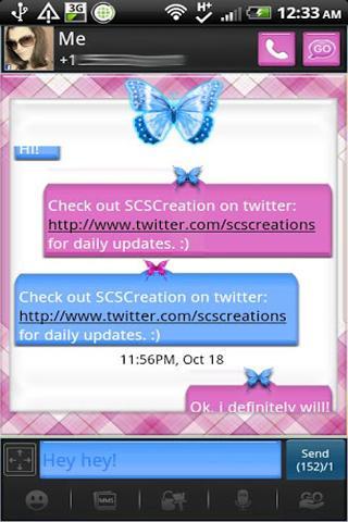 GO SMS - Butterfly Beauty 2