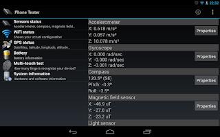 Screenshot of Phone Tester (hardware info)