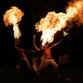 Blowing fire by Sabin Malisevschi - People Musicians & Entertainers ( spit, night, show, blow, entertainer, fire, breath, flame, blower )