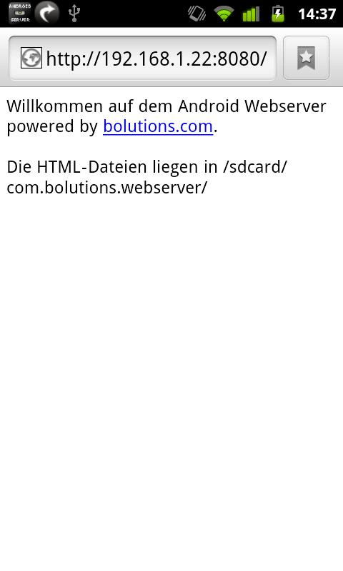 Webserver for Android - screenshot