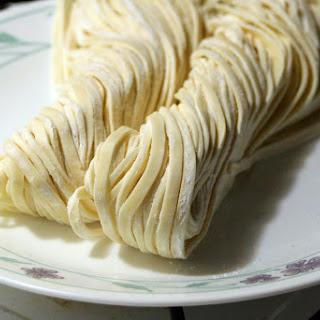 Jajangmyeon (Noodles and vegetables in black bean sauce).