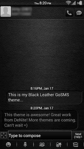Leather White GoSMS Theme